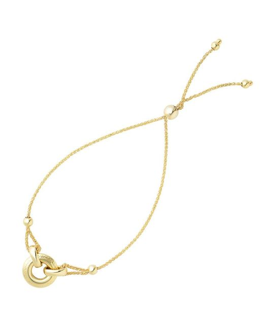 JewelryAffairs | Ring Anchored To Loop Center Bolo Friendship Bracelet In 14k Yellow Gold, 9.25 | Lyst