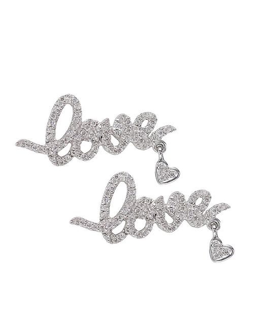 CR By Casa Reale | 18 K Gold White Diamond Love And Heart Earrings | Lyst