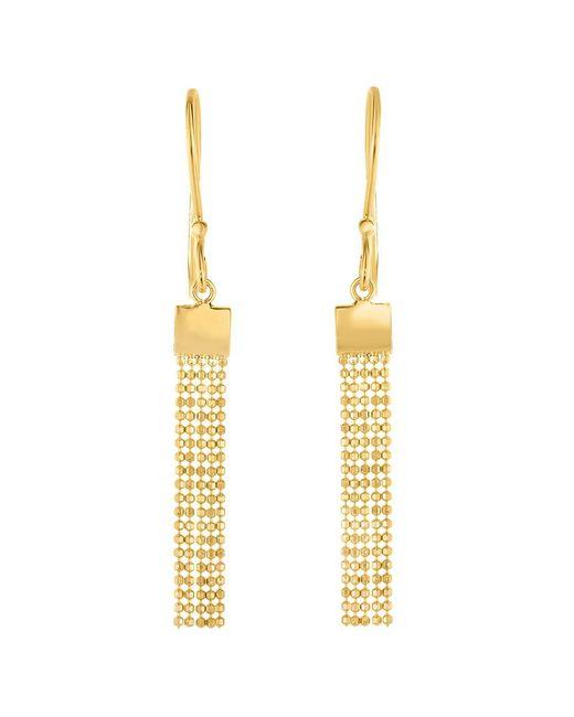 JewelryAffairs - 14k Yellow Gold Multi Strand Diamond Cut Chain Tassel Earrings - Lyst