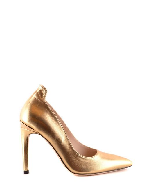 Pinko - Metallic Women's Gold Leather Pumps - Lyst