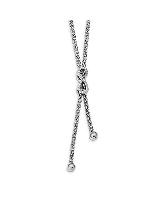 Amanda Rose Collection | Metallic Amanda Rose Cubic Zirconia Infinity Dangle Lariat Necklace In Sterling Silver | Lyst