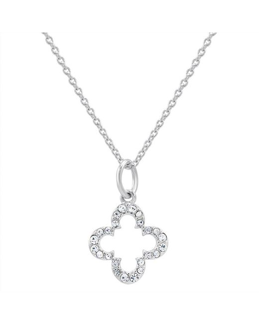 Amanda Rose Collection - Metallic Petite Cubic Zirconia Clover Necklace In Sterling Silver On A 17 In. Chain - Lyst