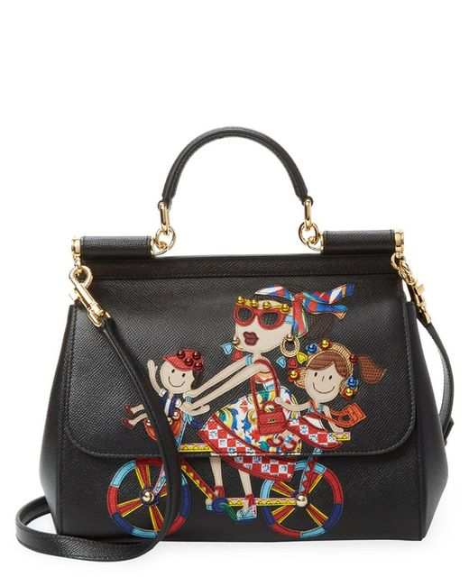 Dolce   Gabbana - Black Dg Family Sicily Leather Satchel - Lyst ... ea72c9bbedf21
