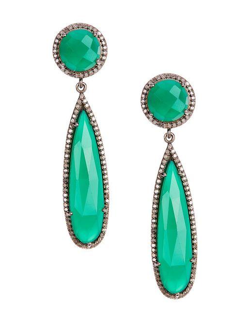 Adornia - Green Onyx And Champagne Diamond Gillian Earrings - Lyst
