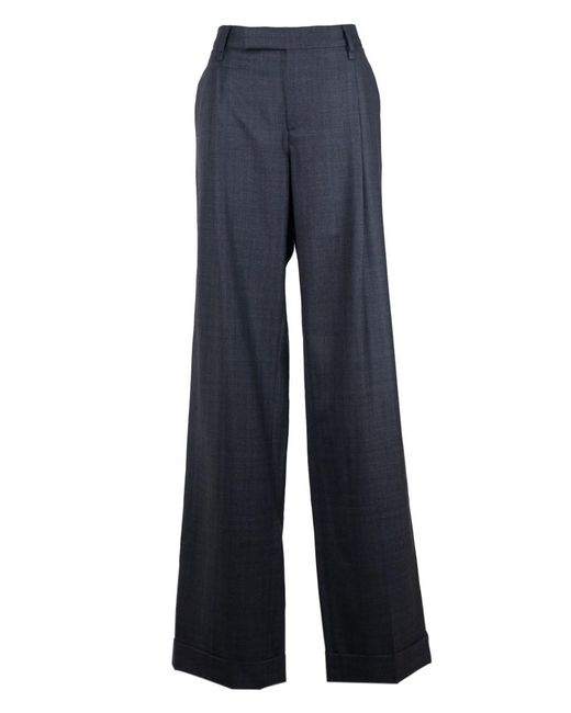 Valentino - Dark Gray 100% Wool Straight Leg Trousers - Lyst
