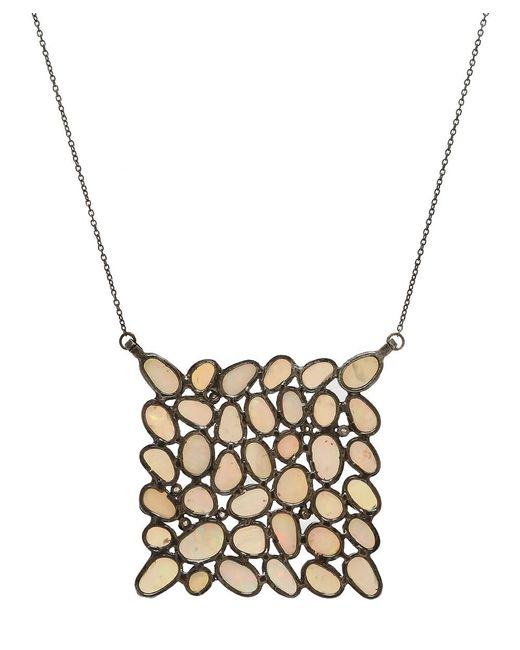 Adornia - Metallic Ethiopian Opal And Diamond Mosaic Necklace - Lyst