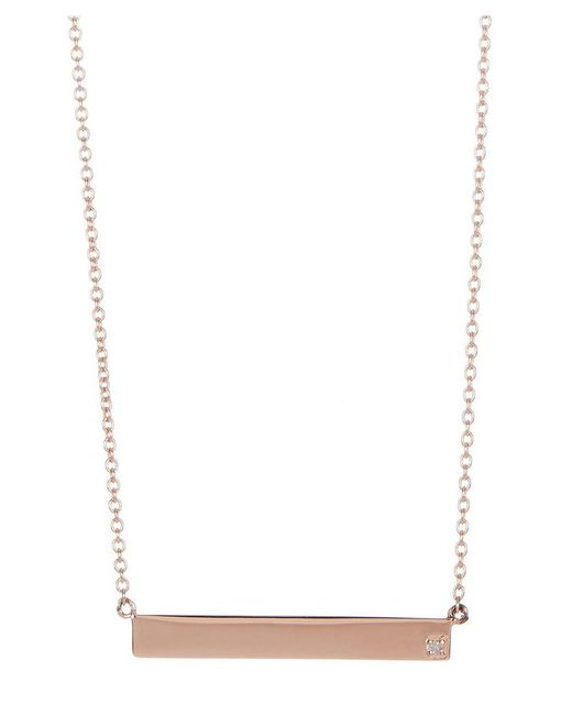 Adornia | Pink Rose Gold Vermeil And Diamond Bar Necklace | Lyst