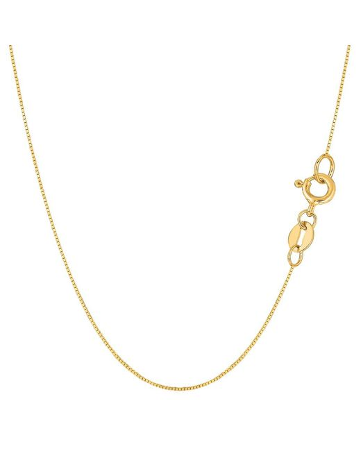 JewelryAffairs - 14k Yellow Gold Classic Mirror Box Chain Necklace, 0.6mm, 16 Inch - Lyst