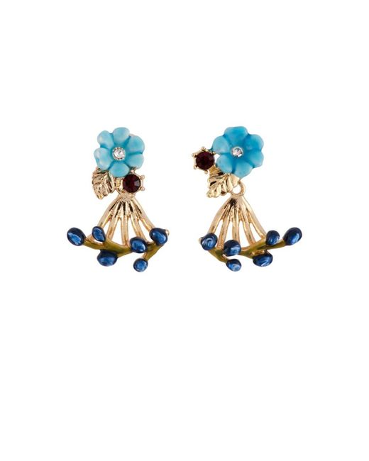 Les Nereides | Oriental Rose Little Blue Flower And Berries Removable Clasp Earrings | Lyst