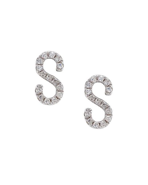 CR By Casa Reale - 14 K Gold White Diamond S Initial Earrings - Lyst