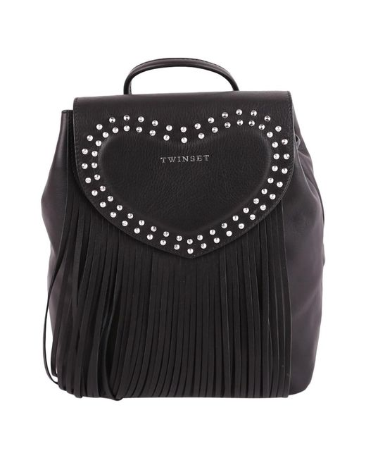Twin Set - Women's Black Leather Backpack - Lyst