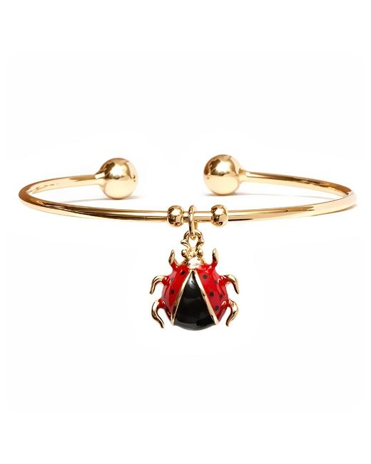 Peermont - Metallic Gold Ladybug Enamel Charm Cuff - Lyst