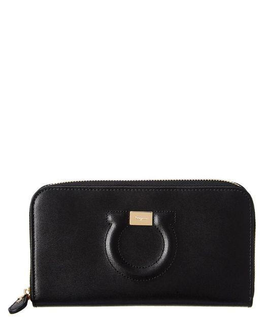 Ferragamo - Black Gancini Embossed Leather Zip-around Wallet - Lyst