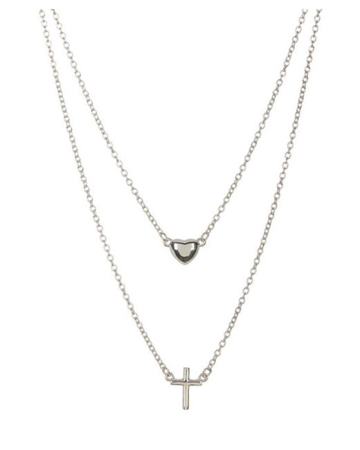 Adornia - Metallic Sterling Silver Double Strand Necklace With Cross And Heart - Lyst