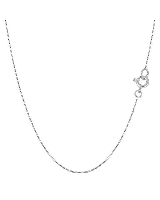 JewelryAffairs - 14k White Gold Classic Mirror Box Chain Necklace, 0.45mm, 16 Inch - Lyst