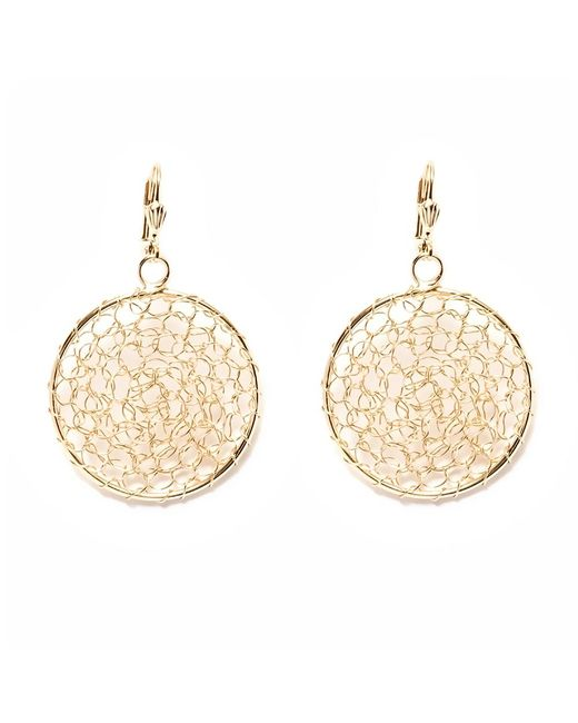 Peermont - Metallic Gold Mesh Circle Earrings - Lyst