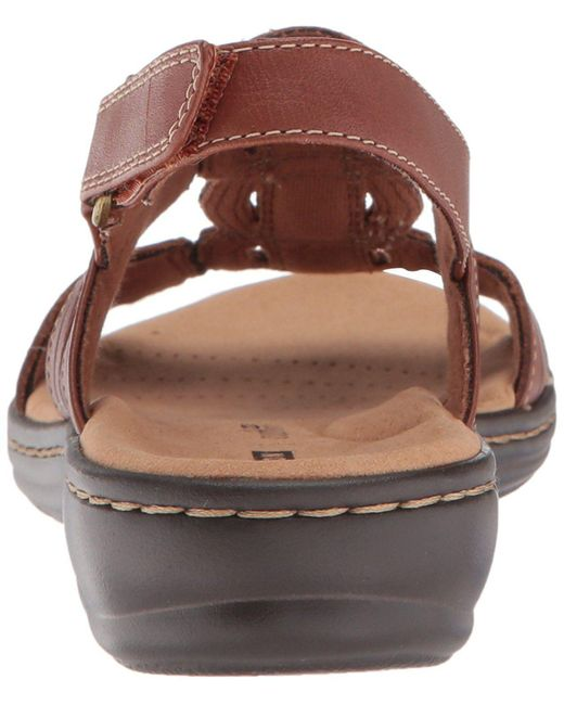 a1d7abacfce4 ... Clarks - Brown Womens Leisa Vine Leather Open Toe Casual Ankle Strap  Sandals - Lyst ...