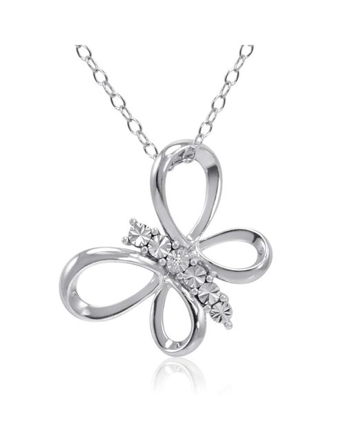 Amanda Rose Collection - Metallic Sterling Silver Diamond Butterfly Pendant-necklace On An 18 Inch Chain - Lyst