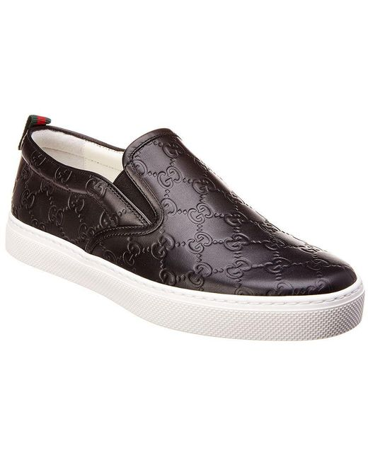 Gucci - Black Signature Leather Slip-on Sneaker for Men - Lyst