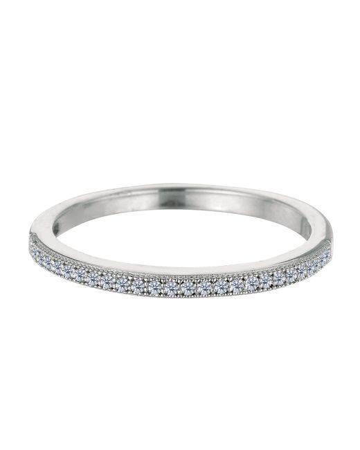 JewelryAffairs - White Sterling Silver Rhodium Finish Milgrain Cubic Zirconia Ring - Lyst