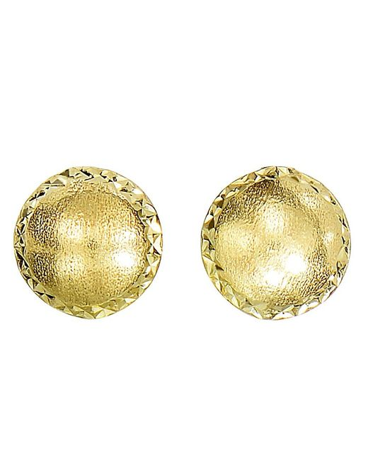 JewelryAffairs - 14k Yellow Gold Satin With Diamond Cut Edges Stud Earrings, 8mm - Lyst