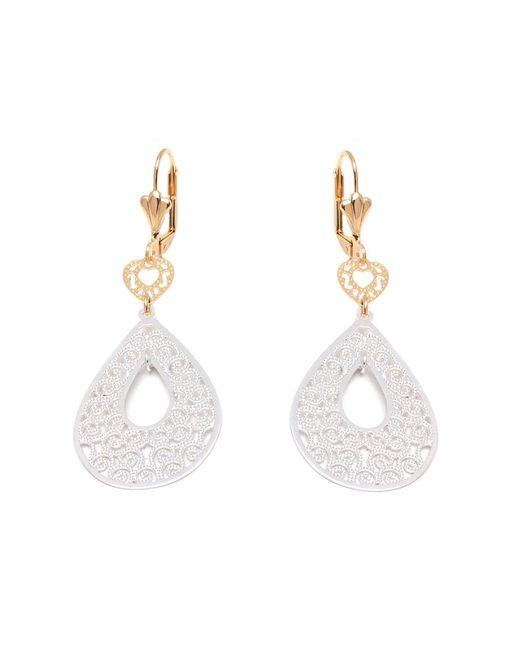 Peermont - Metallic Gold And Silver Filigree Cutout Heart And Teardrop Drop Earrings - Lyst