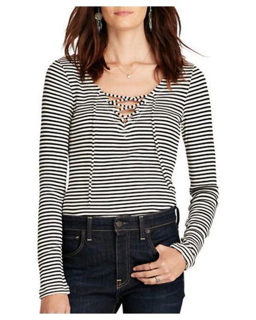 Denim & Supply Ralph Lauren - Black Striped V-neck Lace-up Shirt - Lyst