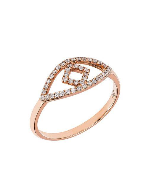CR By Casa Reale - Metallic 18 K Gold White Diamond Evil Eye Ring - Lyst