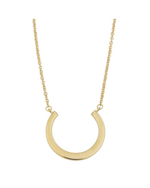 "JewelryAffairs - 14k Yellow Gold Half Circle Pendant On 17"" To 18"" Adjustable Necklace - Lyst"