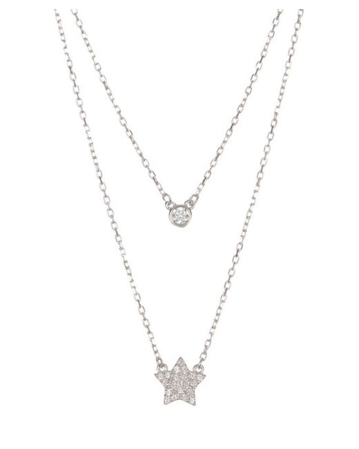 Adornia - Metallic Sterling Silver Double Strand Necklace With Star And Bezeled Swarovski Crystal - Lyst