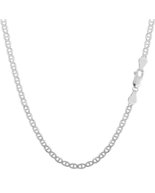 JewelryAffairs - White Sterling Silver Rhodium Plated Flat Mariner Chain Necklace, 2.8mm, 16 Inch - Lyst