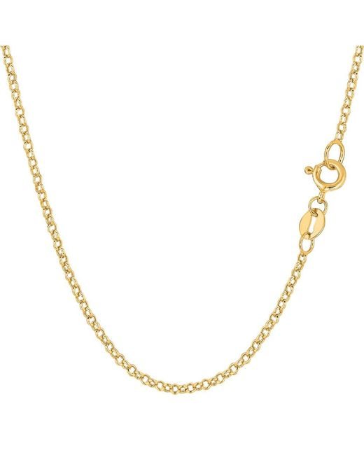 JewelryAffairs | 14k Yellow Gold Round Rolo Link Chain Necklace, 1.85mm, 16 Inch | Lyst