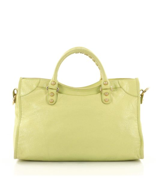 ... Balenciaga - Yellow City Giant Studs Handbag Leather Medium - Lyst ... 78935f95e1294