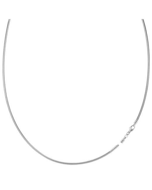 JewelryAffairs - Round Omega Chain Necklace With Screw Off Lock In 14k White Gold, 1.5mm - Lyst