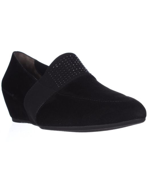 Paul Green - Dazzle Studded Wedge Loafers, Black Suede - Lyst
