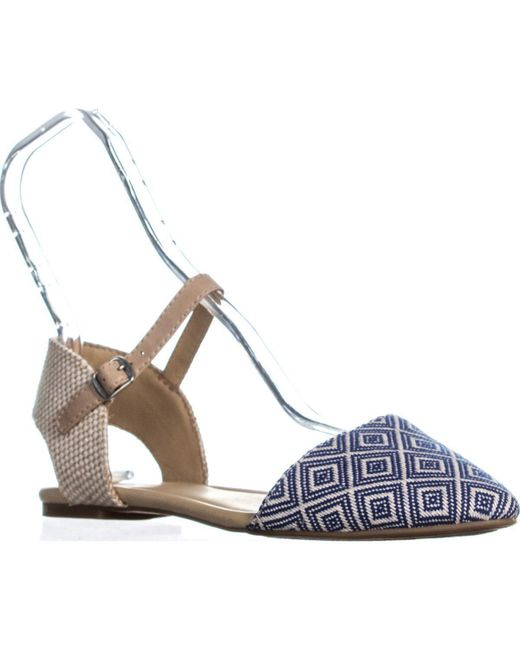 Lucky Brand - Abbee Pointed-toe Ankle Strap Ballet Flats, Blue Combo - Lyst