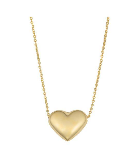 JewelryAffairs - 10k Yellow Gold Puffed Heart Pendant Necklace, 18 - Lyst