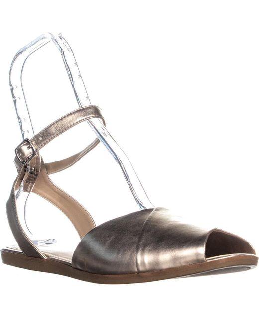 Alfani - Multicolor A35 Malore Peep Toe Ankle Strap Flat Sandals, Zinc - Lyst