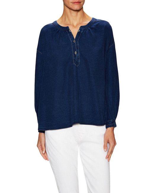 MiH Jeans - Blue Oldfield Denim Peasant Top - Lyst
