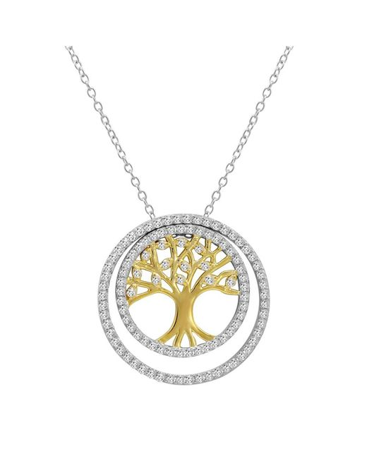 Amanda Rose Collection - Metallic Two Tone 3-in-1 Cz Tree Of Life Pendant-necklace In Sterling Silver On A 18 In. Chain - Lyst