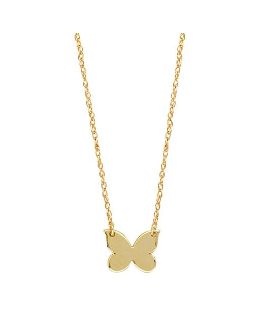 """JewelryAffairs - 14k Yellow Gold Mini Butterfly Pendant Necklace, 16"""" To 18"""" Adjustable - Lyst"""