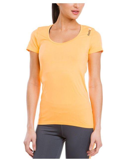 Reebok - Black Neon Orange Breathable Athletic Tee - Lyst