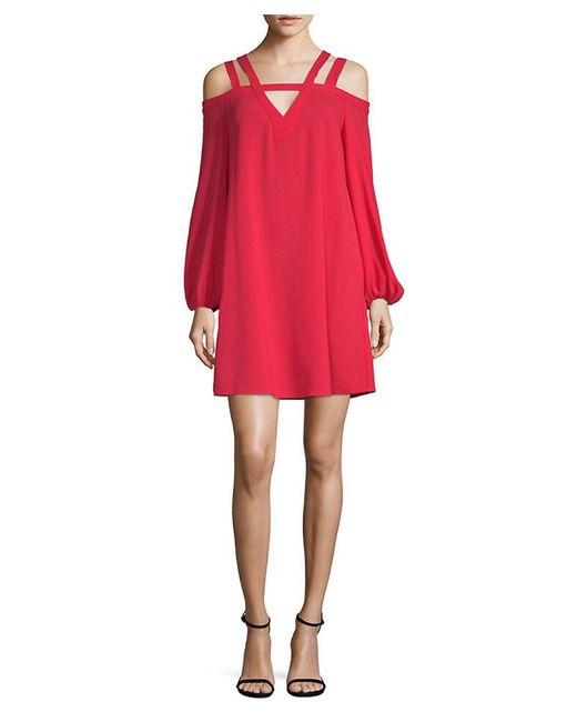BCBGMAXAZRIA - Red Strappy Cold-shoulder Shift Dress - Lyst