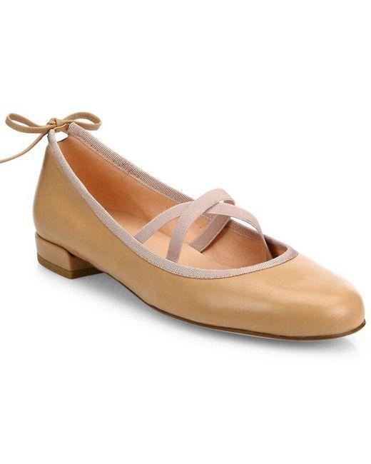 Stuart Weitzman - Natural Bolshoi Leather Ballet Flats - Lyst