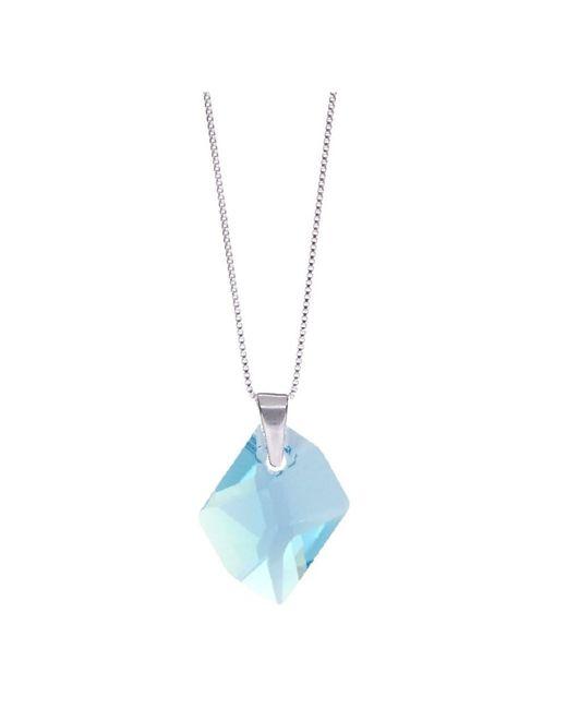Barzel - Metallic Swarovski Aquamarine Crystal Cosmic Pendant In Sterling Silver - Lyst