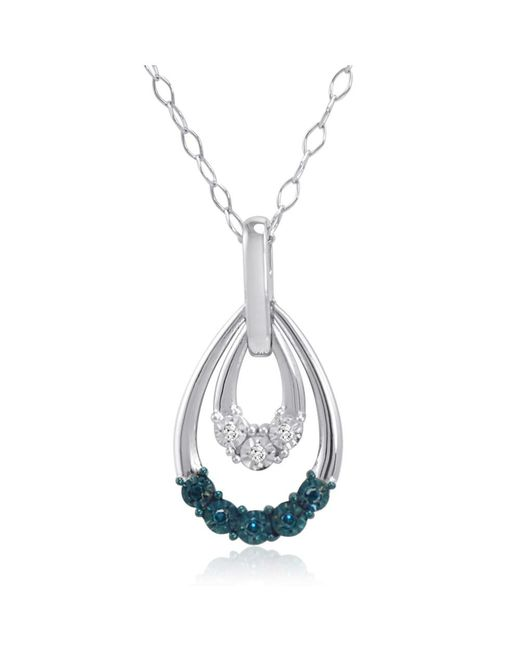 Amanda Rose Collection | Metallic Blue And White Diamond Dangle Pendant-necklace In Sterling Silver | Lyst