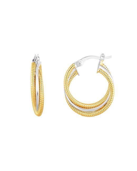 JewelryAffairs - 14k Gold Yellow And White Finish Hoop Fancy Earrings, Diameter 15mm - Lyst