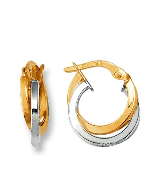 JewelryAffairs - 14k Yellow And White Gold Two Tone Double Row Hoop Earrings, Diameter 12mm - Lyst