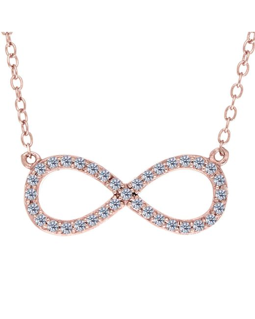 """JewelryAffairs - Metallic Infinity Sign Link And Cz Necklace In Rose Color Finish Sterling Silver, 18"""" - Lyst"""