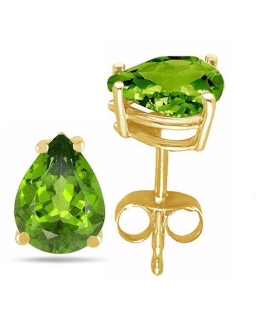Tia Collections - 8x6 Pear Shape Peridot Earrings In 14k Yellow Gold - Lyst
